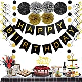 Moohome Black and Gold Happy Birthday Decoration Kits, Happy Birthday Banner, Hanging Streamers/Swirls, Paper Garland Pom-Poms and Happy Birthday Cake Topper for Birthday Party Decorations