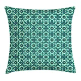 Jagfhhs Green Pattern With Kaleidoscopic Mandala Motifs In Aquamarine Shades Flax Cotton Hidden Zipper Throw Pillow Covers Square Standar Size:26x26 IN (Two Sides)
