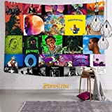 shenyizhu Rappers Album Cover Collage 3D Boutique Tapestries Pop Artwork Wall Hanging Fabric Blanket for Bedroom Living Room Dorm Decor 59.1 x 82.7 Inch