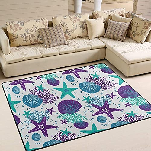 Personalized Purple Green Starfish Sea Shells Coral Area Rug Non-Slip Play Area Rug Runner Rug for Hallway Bedroom Bathroom Outdoor Dining Living Room Rugs Washable 2x3 3x5 4x6 5x8 Area Rug