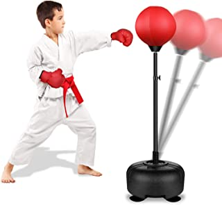 Rovtop Kids Punching Bag for Kids - Boxing Set with Thicker PVC Punching Bag, Adjustable Stand with Stronger Spring, and Boxing Gloves, Toys Gifts for Age 4 5 6 7 8 and Up Years Old Boys Girls