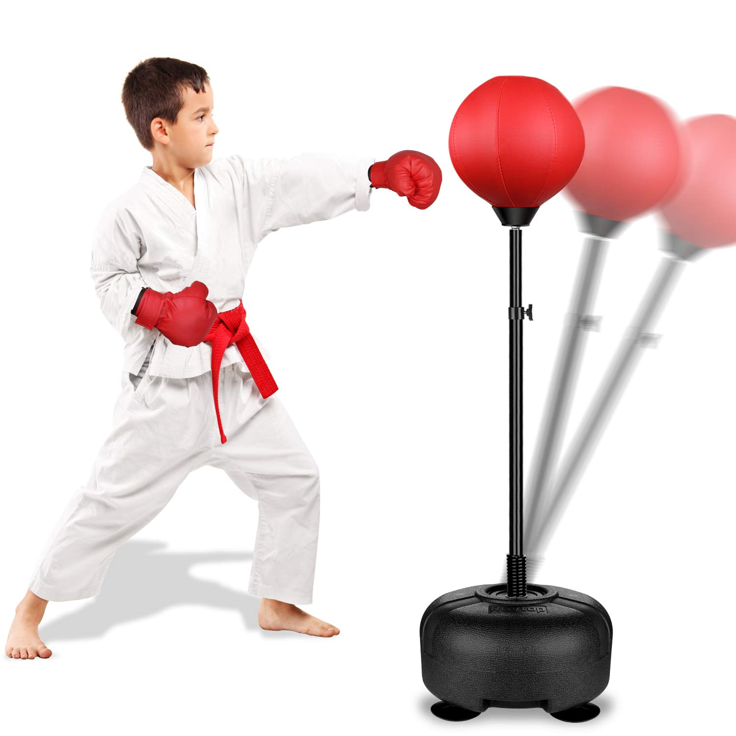 Kids Boxing Ball Set with Punching Bag Boxing Gloves Hand Pump /& Adjustable Stan