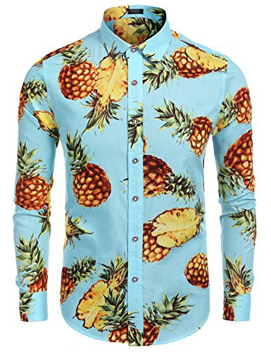 Herren Hemd Langarm Hawaii Hemd Freizeit Regular Fit Hawaiian Shirt(Hell Blau,M)