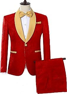 5f04d3ca0403 DGMJ Slim Fit 2 Piece Suit for Men One Button Shawl Lapel Tuxedo Wedding Suit  Jacket