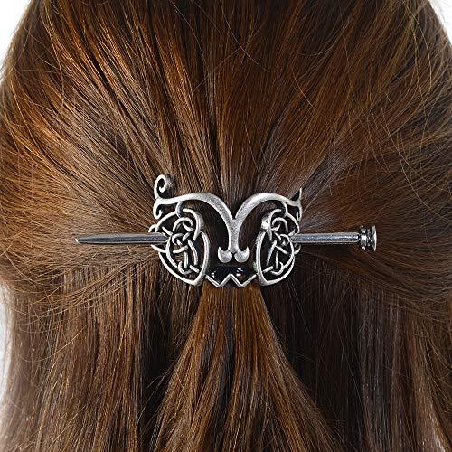 Viking Celtic Dragon Hairpins Clips- Norse Celtic Knot Hair Accessories Hair Slide Hair Barrettes Irish Hair Decor for Long Hair Jewelry Braids Hair Stick With Dragon Design (LH-D0)
