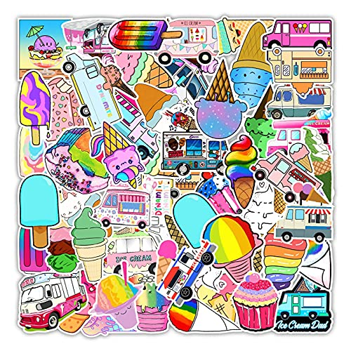 OUJINKUAJING 50 hojas Enjoy The Summer Ice Cream Graffiti Sticker Teléfono Móvil Ordenador Mano Cuenta Hervidor Decoración Etiqueta