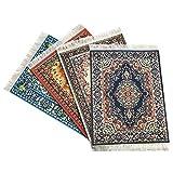 Inusitus Set of 4 Rug Mouse Pads   Oriental Turkish Design   Miniature Carpet Mats (Set-3)