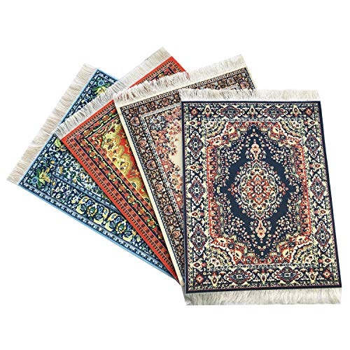 Inusitus 4er Set Teppich Mauspad - Büro Zubehör - Orientalischer Mini Teppich Computer Zubehör (Set-4)