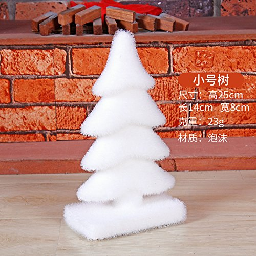 Toaryong Décorations De Noël, Mousse Blanche Neige, Arbre De Noël,25Cm Mousse Trompette Arbre (23G)