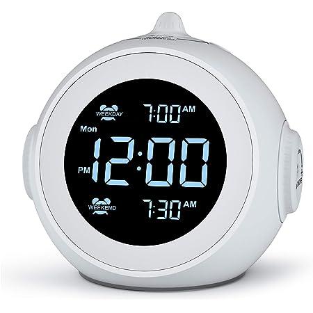 Welgo Dual Alarm Clock Radio for Weekday/Weekend, 6 Wake Up Sounds, 0-100% Brightness Dimmer, Adjustable Volume, Battery Backup, FM Radio with Sleep Timer, Earphone Jack, Small Size for Bedroom, Kid