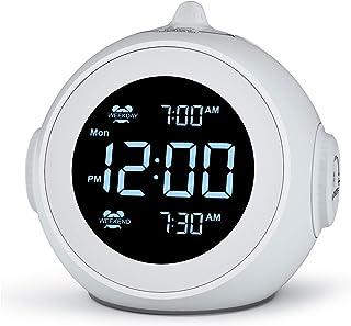 Welgo Dual Alarm Clock Radio for Weekday/Weekend, 6 Wake Up Sounds, 0-100% Brightness Dimmer, Adjustable Volume, Battery B...