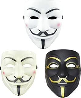 3 Pack Hacker Mask Anonymous Guy Mask Halloween Costume Cosplay