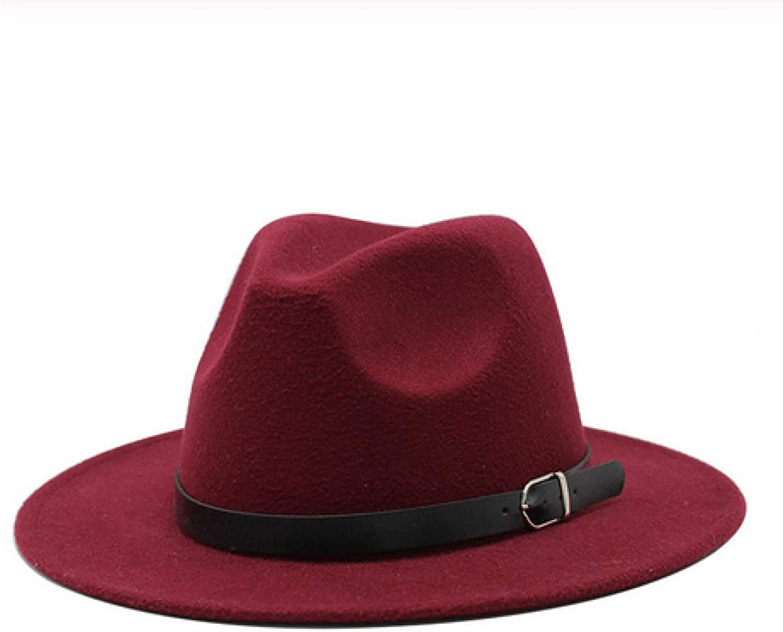 Winter Autumn Imitation Woolen Women Men Ladies Fedoras Top Jazz Hat European American Round Caps Bowler Hats size59-61cm Redwine