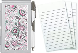 Wellspring Metal Flip Note Case with Pen and 3 Pack Refill, Bundle (Blooms)