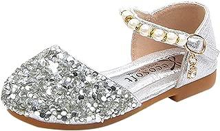 xzbailisha Summer Kid Girls Sandals Heels Princess Shoes Glitter Mary Janes for Party Wedding