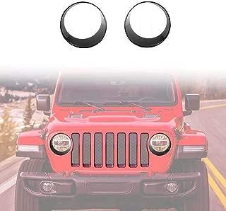 Vijay Front Headlight Black Trim Cover Bezels fro 2018-2019 Jeep Wrangler Rubicon Sahara Sport JL/JLU Unlimited Accessories