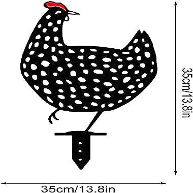 Acrylique Animaux Art Yard Decor Outdoor -Art De Jardin En Forme De Poulet,Coq Métal Animal Silhouette Pieu Cour,Décoration E