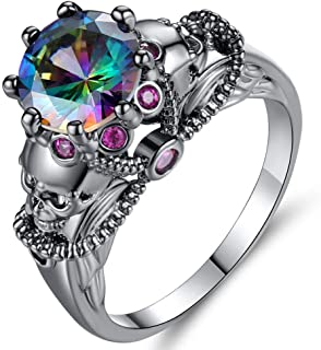 AJZYX Retro Punk Skulls Ring Round Colored Cubic Zirconia CZ Solitaire Rings Band for Women Ladies Size 6-9