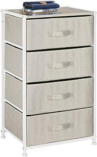 mDesign Armario con cajones de tela – Cajonera de tela con estructura de metal y 4 cajones – Práctica cómoda para dormitor...