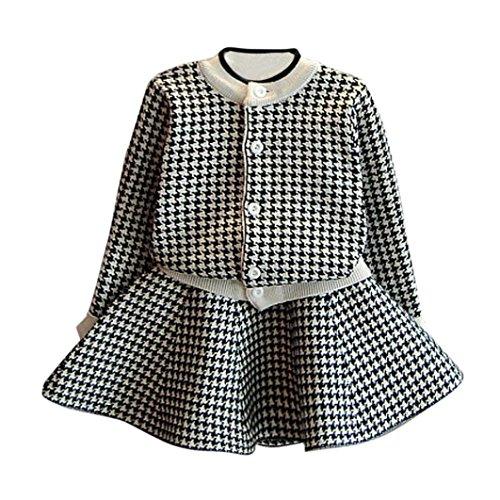 Kobay Kleinkind Kinder Baby Mädchen Outfit Kleidung Plaid Gestrickte Pullover Mantel Tops + Rock Set (7/2-3Jahr, Schwarz)