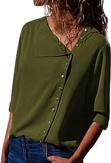 Overdose Blusa para Mujer OtoñO Primavera Nueva Mejor Venta De Moda Casual De Manga Larga Color Block Stripe Button Camisetas Tops