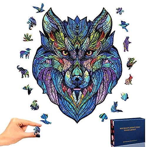 Holzpuzzle Erwachsene Kinder, 3D Puzzle Holzpuzzle Tiere Wolf inzigartige Tierform Puzzleteile Wooden Puzzle Für Die Familienspiel Sammlung Geschenk(Wolf)