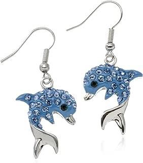 PammyJ Blue Crystal Dolphin Earrings