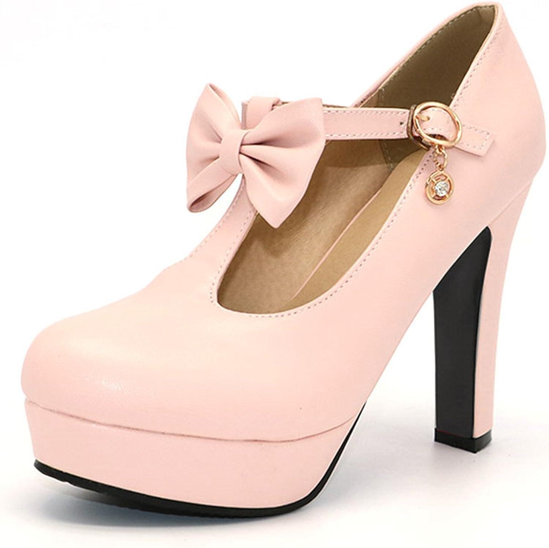 Mofgr T-Strap Women High Heel Bowtie Round Toe Heeled Pumps Fashion Platform shoes