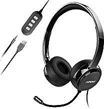 Mpow 071 Cuffie USB/3.5mm con Microfono Cancellare Rumore per Computer/Cellulare.Cuffie Leggere con Scheda Audio fa tua voce chiara come cristallione,Perfetto per skype,Call Center,Online game ecc