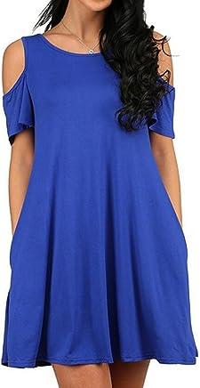 adc958c4b39 ZERO JORLA Women s Sexy Casual T-Shirt Dresses Cold Shoulder Tunic Top  Swing Dress Sundresses