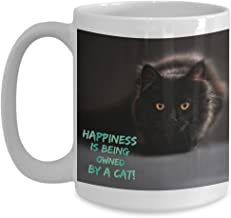 Happiness is Being Owned By a Black Kitty Cat Coffee Cup Gift