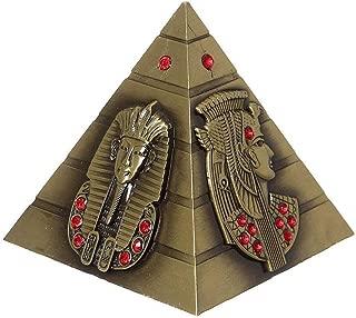 PROW 3.3 Inch Egyptian Pyramids Figurine Replica, Bronze Metal Egyptian Ancient Art Building Model for Cafe Home Decor Desktop Decoration Gift Souvenir