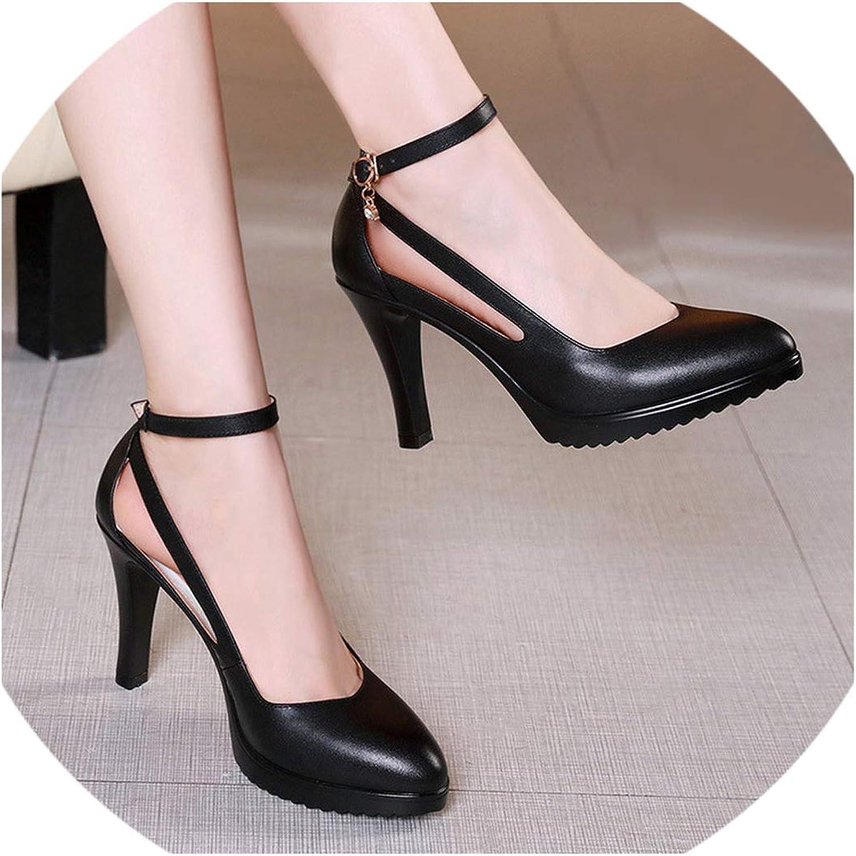 Spike Heels Pumps Mature Office Lady Pumps Buckle Strap Platform Four Season Leather shoes
