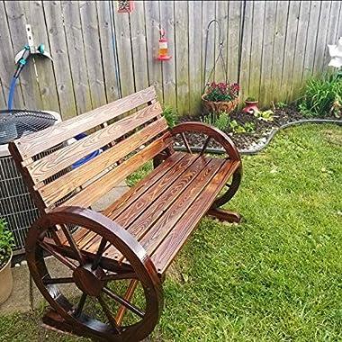 PatioFestival Outdoor Bench Wooden Patio Porch Bench Wagon Wheel Design Rustic Bench for Garden,Porch,Yard(Wooden Color,45&#3