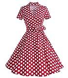Timormode Robe Années 50's Audrey Hepburn Rockabilly Swing,Plissé Robe à Manches Courtes 10084Red Dots 2XL