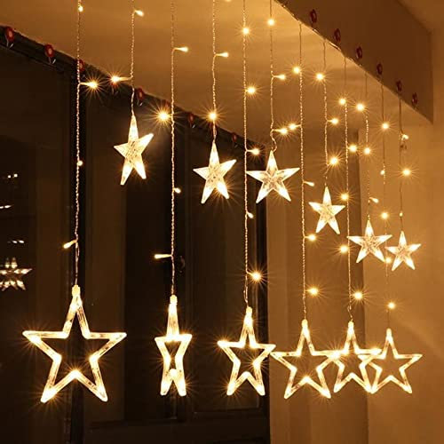 LED Curtain String Lights - AITOO Star Curtain Lights Battery Operated 2.5m  Fairy String Lights - Star Window Christmas Lights: Amazon.co.uk
