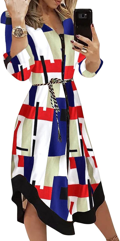 NEEKEY Womens Dresses Fashion Patterned Print Long Sleeve Shirt Dresses Button Up Midi Dress Autumn Office Work Belted Dress