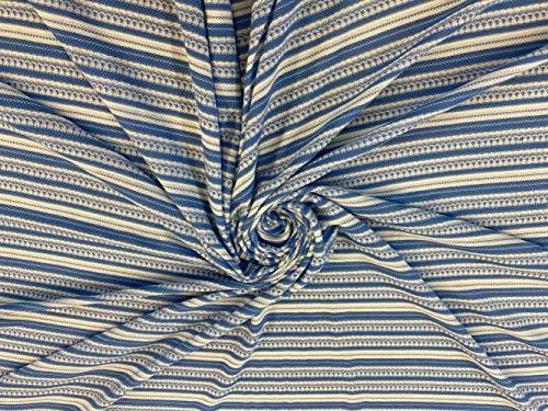 Tela de poliéster y viscosa con estampado a rayas, color azul/blanco, 150 cm de ancho, incluye poste del Reino Unido, tela de Rivin