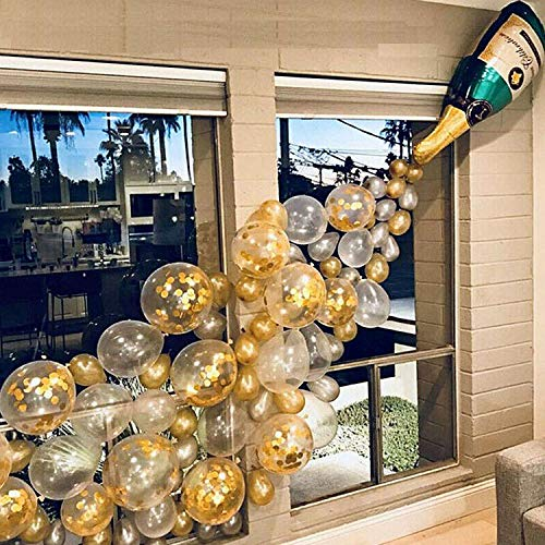 Party Balloons Set, 36.6 Inch Champagne Bottle Balloons 12 Inch Gold Confetti Balloons Gold Latex Balloons Silver Balloons with 1PCS Ribbon for Birthday, Weddings, Baby Shower Decoration & Celebration