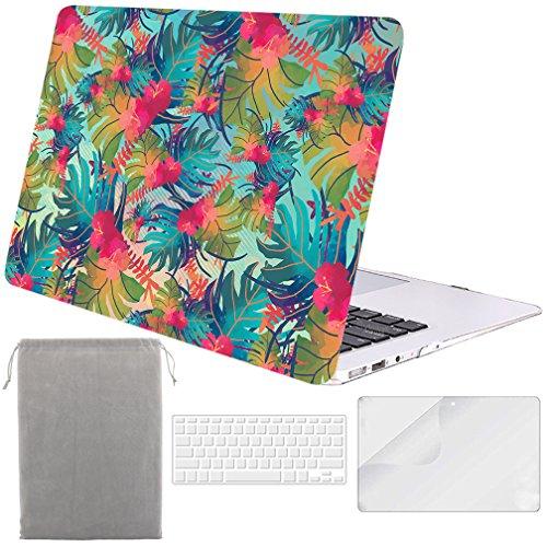 Sykiila para estuche de 13 pulgadas para MacBook Air (modelo: A1369/A1466) Estuche rígido 4 en 1 estuche Folio + Protector de pantalla HD + Estuche para teclado + Funda - Hoja de palma