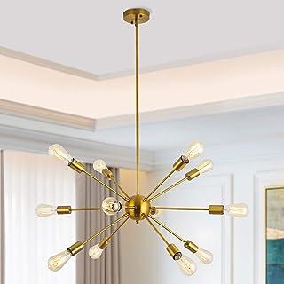 Lámpara de Araña Sputnik Iluminación 12 Luces Lámpara de Metal Lámpara de Techo Moderno para Sala de estar, Dormitorio, Loft, Cafe, Studio (Latón Sin Bombilla)