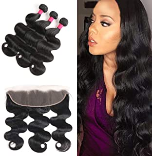 Brazilian Body Wave Bundles with Lace Frontal (12 14 16+12 Frontal),100% Unprocessed Virgin Human Hair Bundles with Ear To Ear Lace Frontal Closure Natural Color