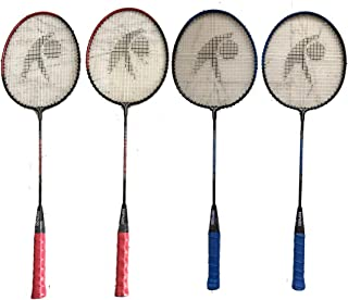 Hipkoo Crash Rackets (Set of 4) Blue & Red Strung Badminton Racquet