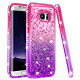 Galaxy S7 Edge Case, Galaxy S7 Edge Case for Women, Ruky Colorful Quicksand Series Flowing Liquid Floating Soft TPU Bling Diamond Girls Women Phone Case for Samsung Galaxy S7 Edge (Pink Purple)