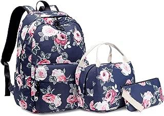 Idubai Canvas Backpack Set Girls Bookbags Set 3 in 1 College Laptop Backpack