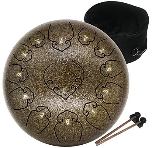 Amkoskr 12 Pulgadas 30cm Tambor de Lengua de Acero con 13 Notas Tonos C Percusión Instrumento Tambor de Mano con Mazos de Tambor/Bolsa de Transporte(Café)