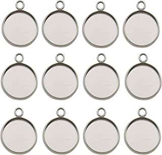 40pcs Fit 14mm Stainless Steel Round Blank Bezel Pendant Trays Base Cabochon Settings Trays Pendant Blanks for Jewelry Making DIY Findings