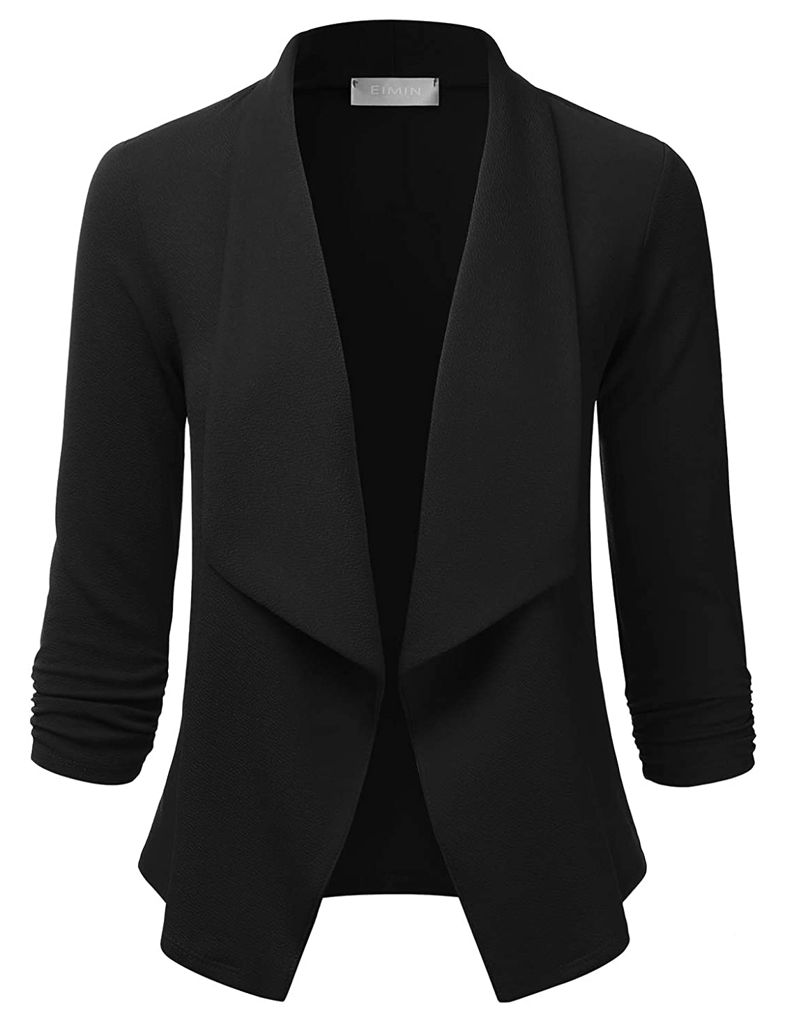 EIMIN Women's Lightweight Stretch 3/4 Sleeve Blazer Open Front Jacket (S-3XL)