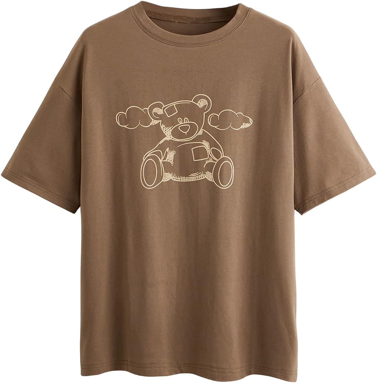 SOLY HUX Women's Cartoon Bear Print Short Sleeve Tee Casual Summer T Shirt Top