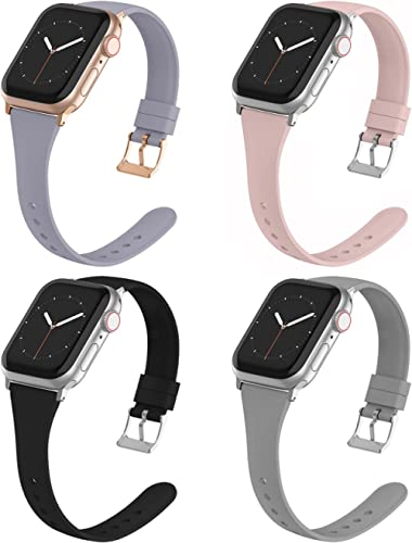 Compatible with Apple Watch Bands 38mm 40mm 42mm 44mm for Women Men, Adepoy Soft Silicone Narrow Slim Replacement Spo...
